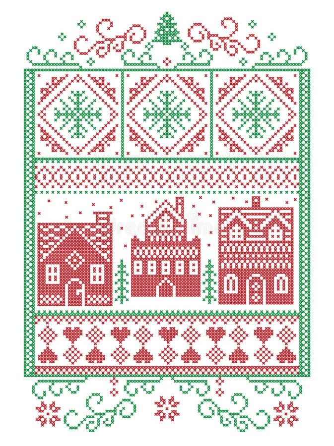 圣诞节斯堪的纳维亚人,北欧样式冬天缝,样式包括雪花,心脏,冬天妙境村庄,姜饼 向量例证