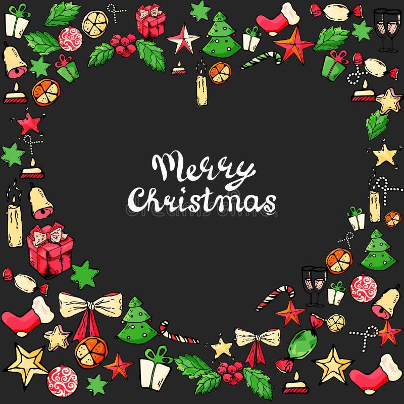 圣诞节新年乱画传染媒介象 拉长的现有量 圣诞树糖果,圣诞节铃声,星,礼物,袜子,弓,蜡烛 皇族释放例证