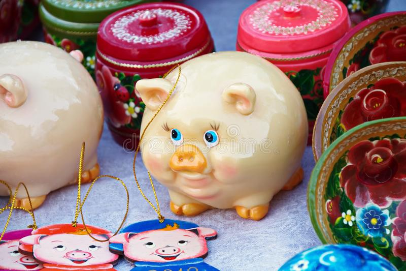 圣诞节新年猪,纪念品的标志 免版税库存照片