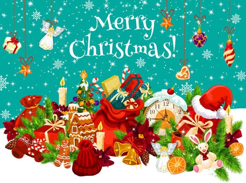 圣诞节新年设计的节日礼物卡片 向量例证