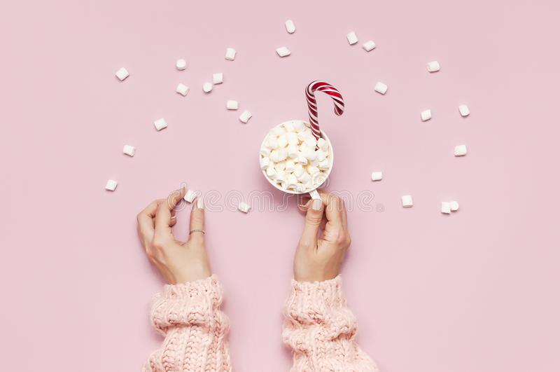 圣诞节新年饮料,白色杯子用蛋白软糖在女性手上在被编织的毛线衣和棒棒糖在桃红色背景上面 库存图片
