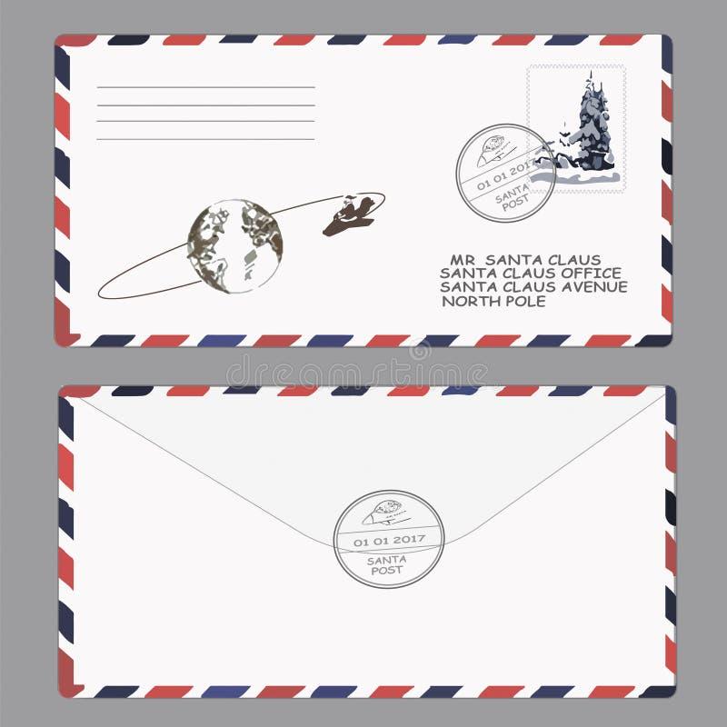 圣诞节新年度 克劳斯信函圣诞老人 模板,信封,邮票 向量 向量例证