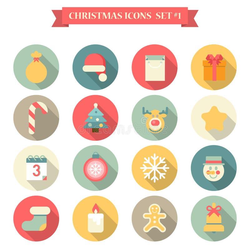 圣诞节新年象集合平的样式反对圣诞老人帽子麋等