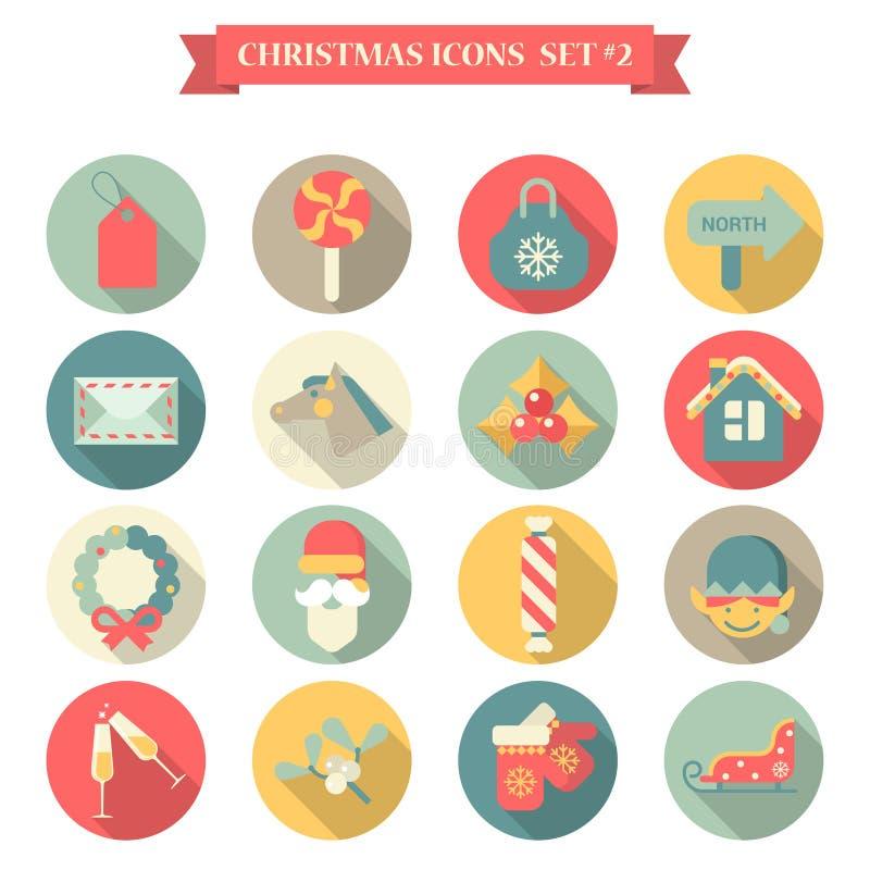 圣诞节新年象集合平的样式 库存例证
