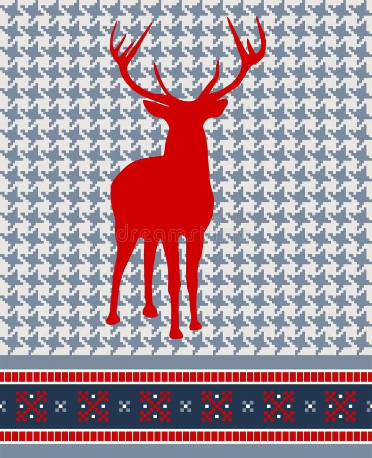 圣诞节无缝模式的驯鹿 向量例证