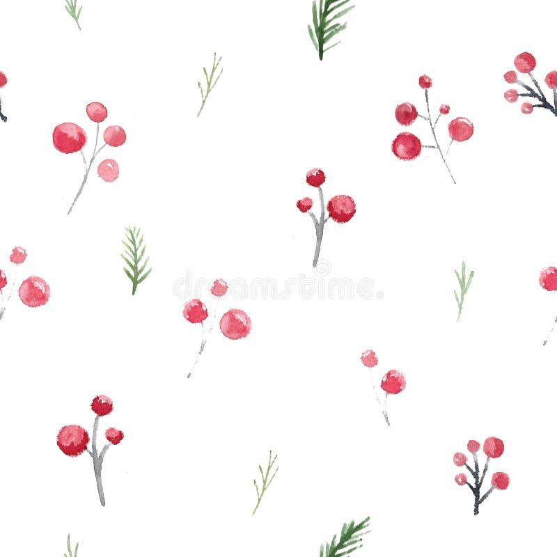 圣诞节无缝的样式用霍莉莓果和分支 包裹的欢乐水彩新年装饰品 库存例证