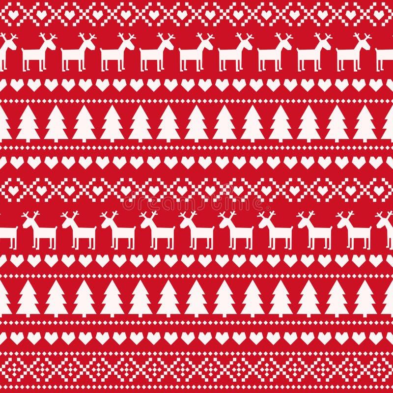 圣诞节无缝的样式,卡片-斯堪的纳维亚毛线衣样式 库存例证