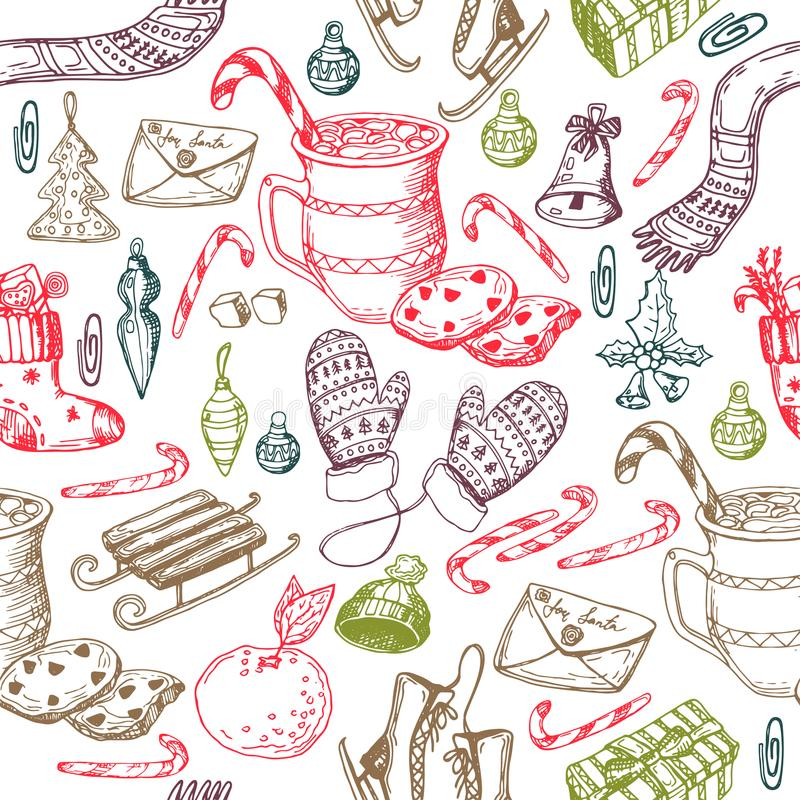 圣诞节无缝的样式,纹理,手图画剪影例证 导航剪影对象的汇集新年和Christm 免版税库存图片