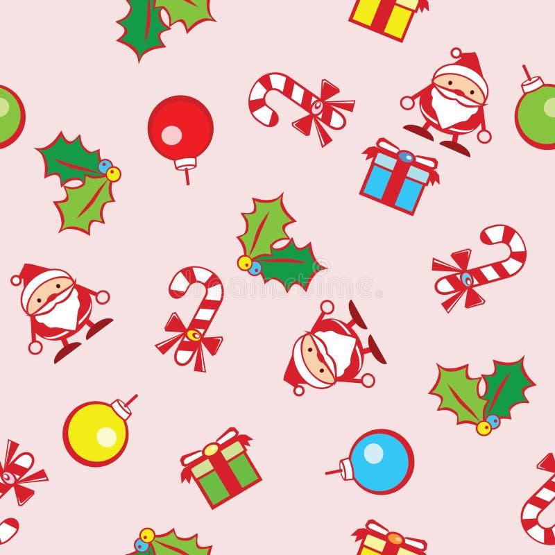 圣诞节无缝的背景与逗人喜爱的图表传染媒介的 库存例证