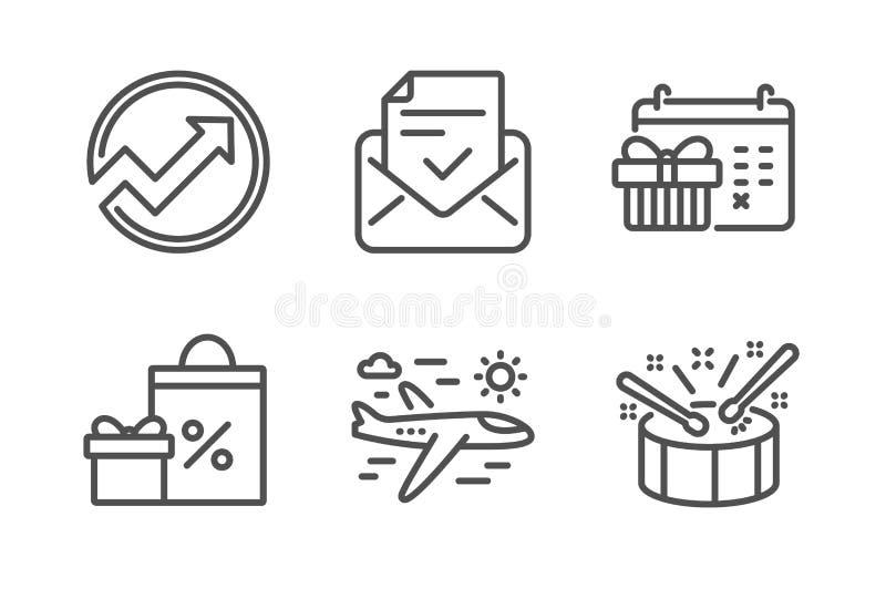 圣诞节日历、飞机旅行和购物象集合 被批准的邮件,审计和鼓标志 ?? 皇族释放例证