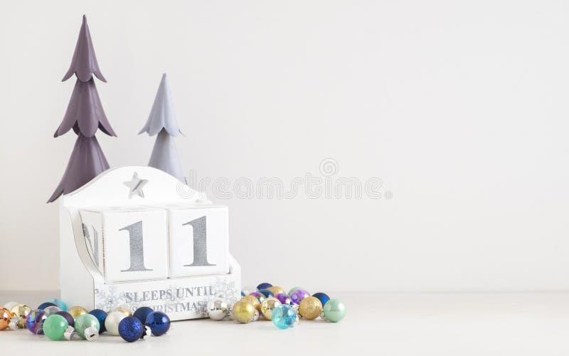 圣诞节日历-直到圣诞节的11睡眠 图库摄影