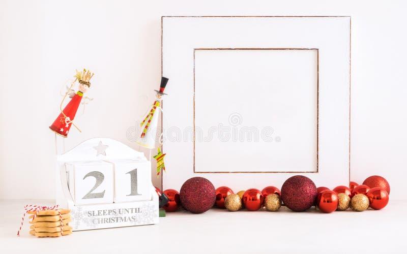 圣诞节日历-直到圣诞节的21睡眠 库存照片