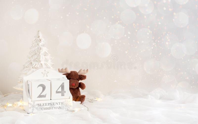 圣诞节日历-直到圣诞节的24睡眠 库存图片