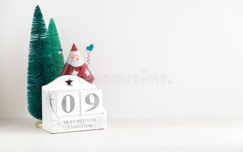 圣诞节日历-直到圣诞节的9睡眠 库存照片