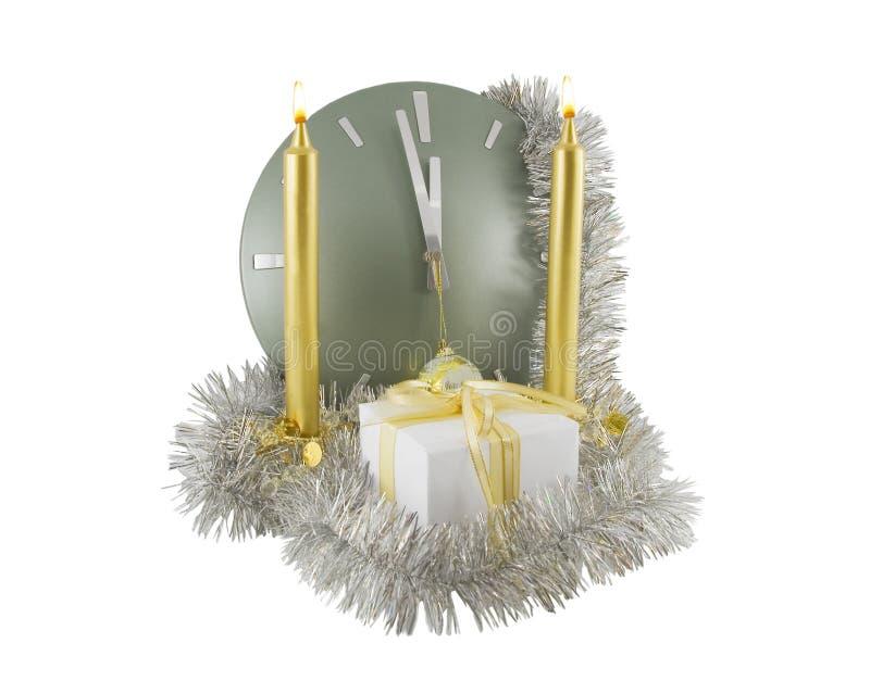 圣诞节时钟装饰 免版税库存照片