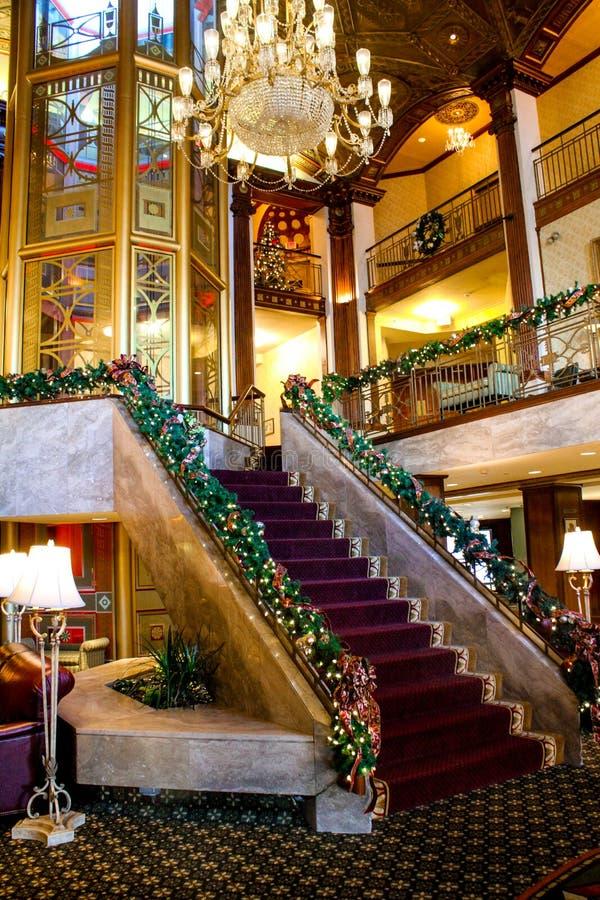 圣诞节时间在Biltmore旅馆,上帝, RI 图库摄影