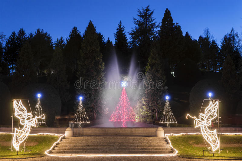 圣诞节时间,瓦雷泽-意大利 免版税库存图片