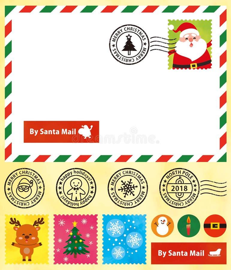 圣诞节明信片,逗人喜爱的邮票,邮戳 皇族释放例证