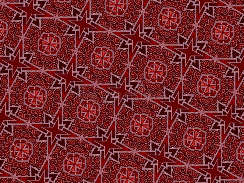 圣诞节星和swirly线样式 免版税图库摄影