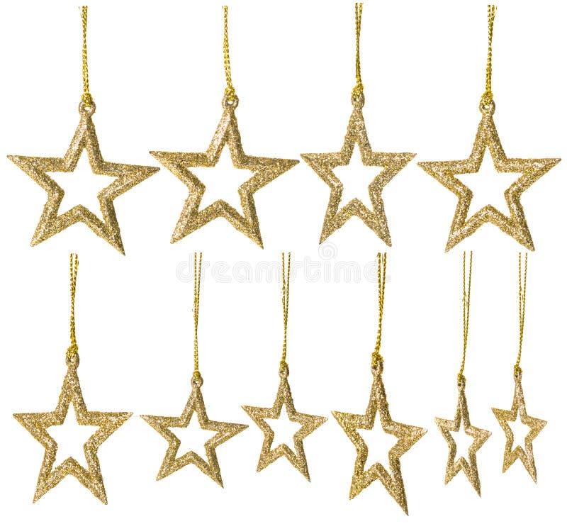 圣诞节星垂悬的装饰,新年闪耀被设置的星 免版税库存图片