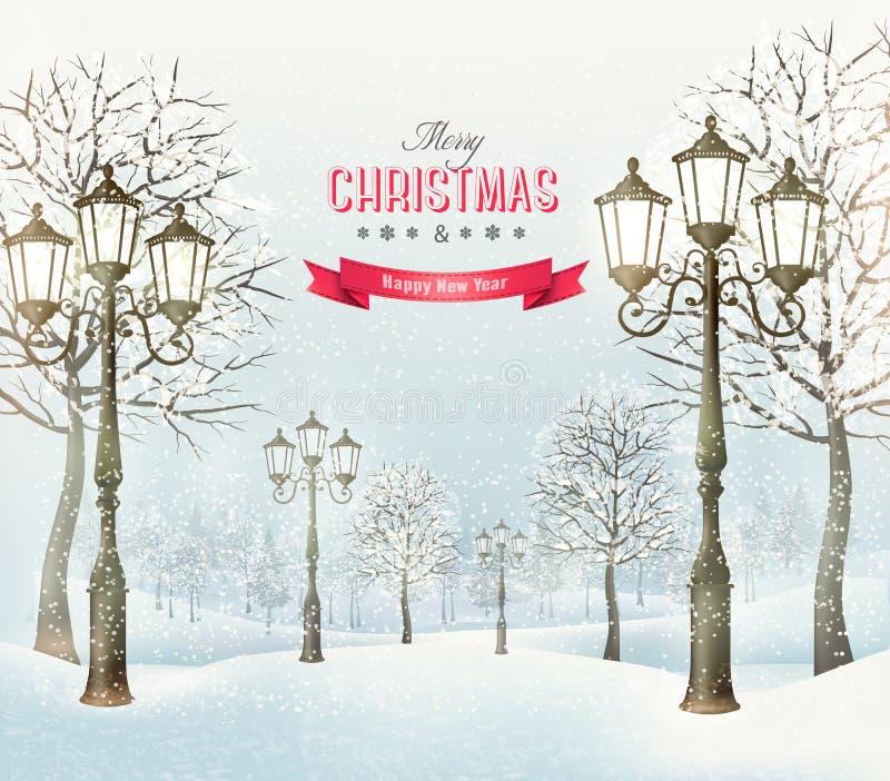 圣诞节晚上与葡萄酒路灯柱的冬天风景 向量例证