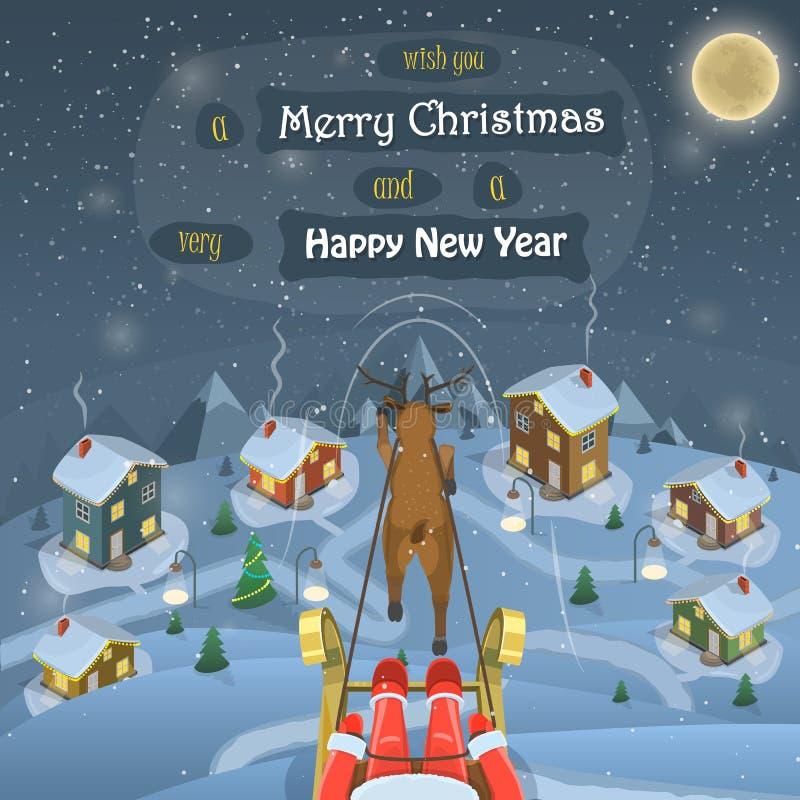 圣诞节晚上风景传染媒介例证 皇族释放例证