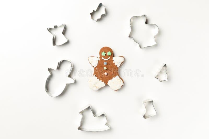 圣诞节曲奇饼各种各样的形状切削刀 免版税库存图片