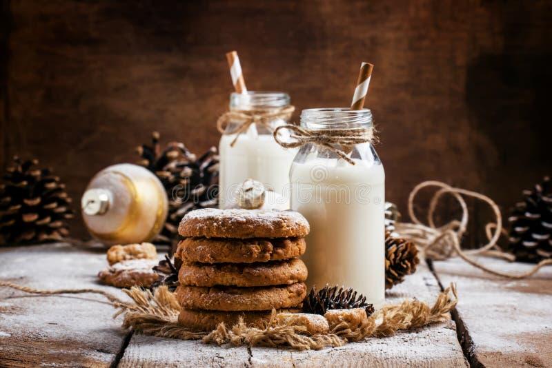 圣诞节曲奇饼和温暖的牛奶在瓶,土气样式, vintag 免版税图库摄影