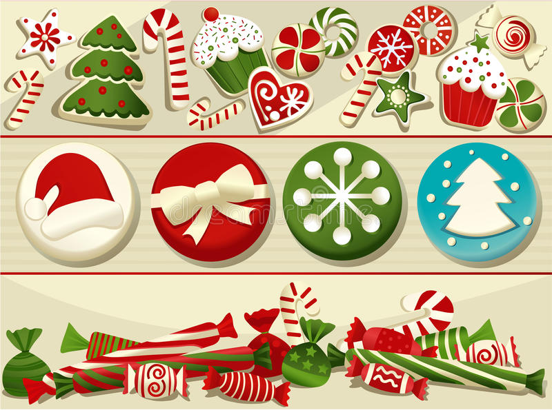 圣诞节曲奇饼姜饼做宫殿甜点 向量例证