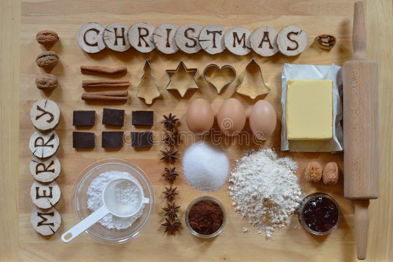 圣诞节曲奇饼的烘烤成份 免版税库存图片