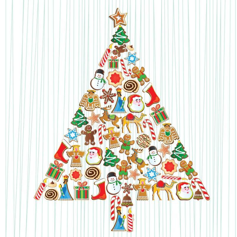 圣诞节曲奇饼逗人喜爱的结构树 向量例证