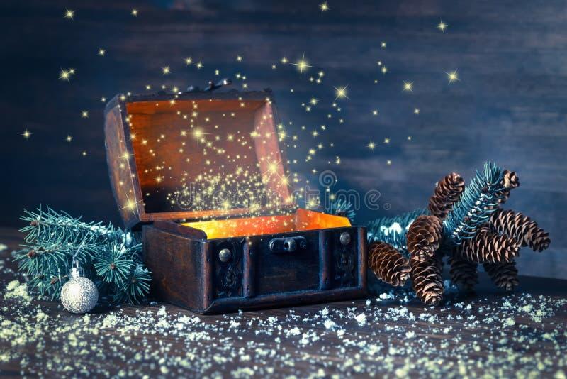 圣诞节有奇迹的冬天神仙在被打开的胸口背景中 免版税库存照片