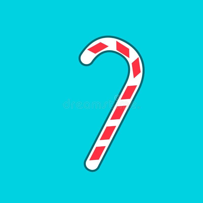 圣诞节有条纹平的象的薄荷糖藤茎apps的和网站导航例证 向量例证