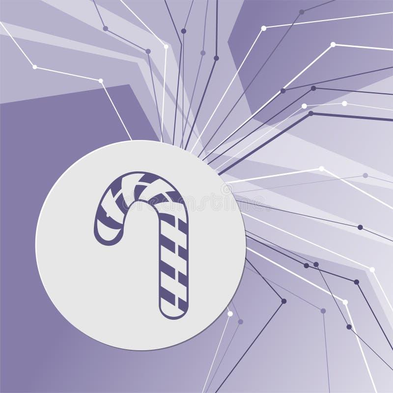 圣诞节有条纹象的薄荷糖藤茎在紫色抽象现代背景 线四面八方 您的室 库存例证