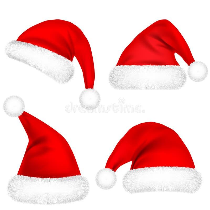 圣诞节有毛皮集合的圣诞老人项目帽子 在白色背景隔绝的新年红色帽子 冬天盖帽 也corel凹道例证向量 向量例证