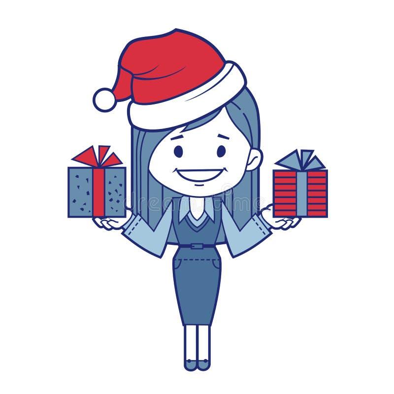 圣诞节有礼物的字符女孩 向量例证
