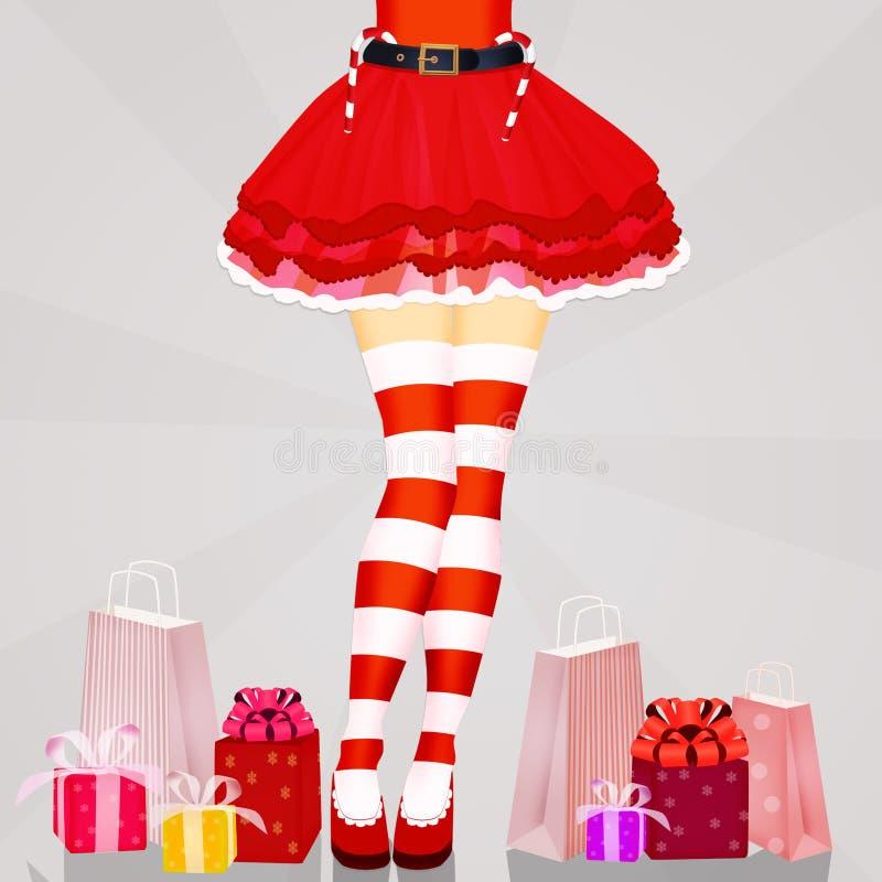 圣诞节有镶边袜子的妇女腿 向量例证