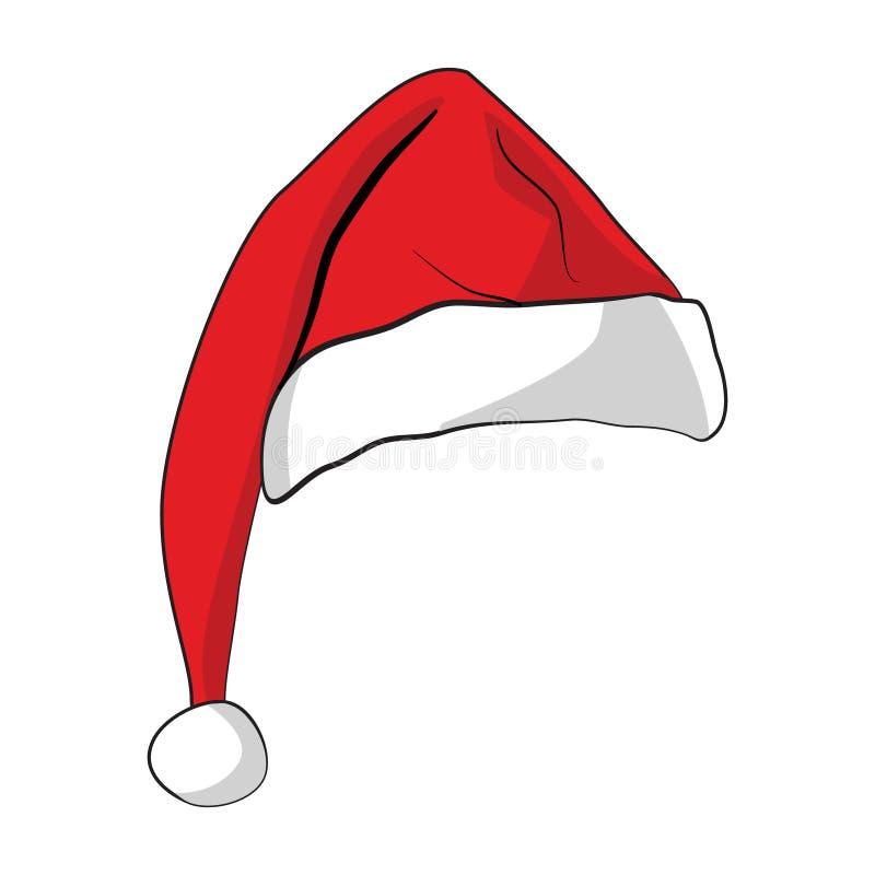 圣诞节有阴影的圣诞老人帽子 向量例证