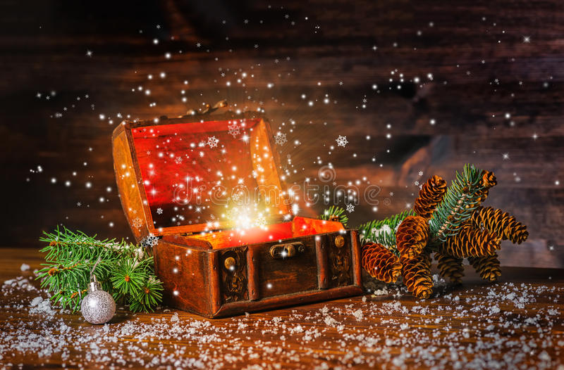 圣诞节有幻想奇迹的冬天神仙在被打开的胸口trea 免版税库存图片