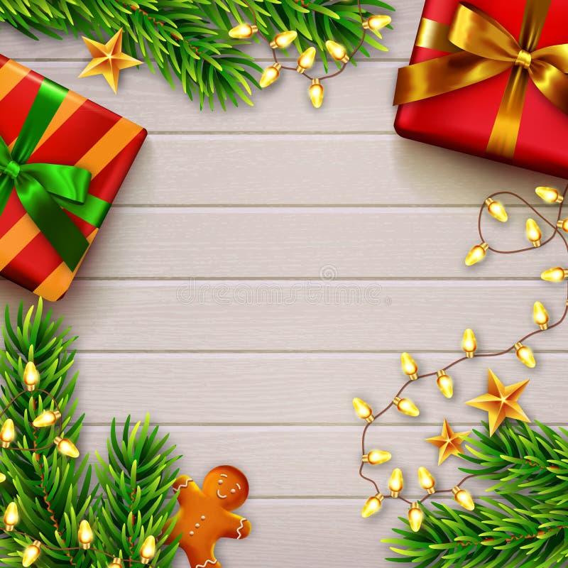 圣诞节木装饰的背景 顶视图 向量 库存例证