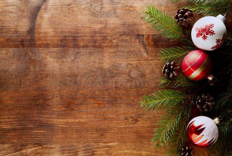 圣诞节木头背景 免版税图库摄影