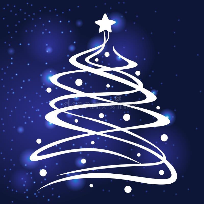 圣诞节杉树装饰了球和星在蓝色背景 向量例证