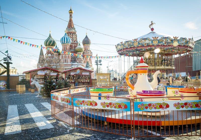 圣诞节村庄公平在红场在莫斯科 库存照片