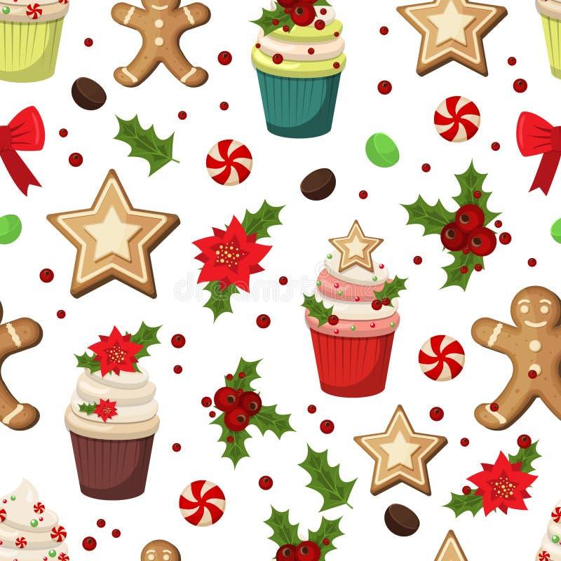 圣诞节杯形蛋糕松饼无缝的样式 库存例证