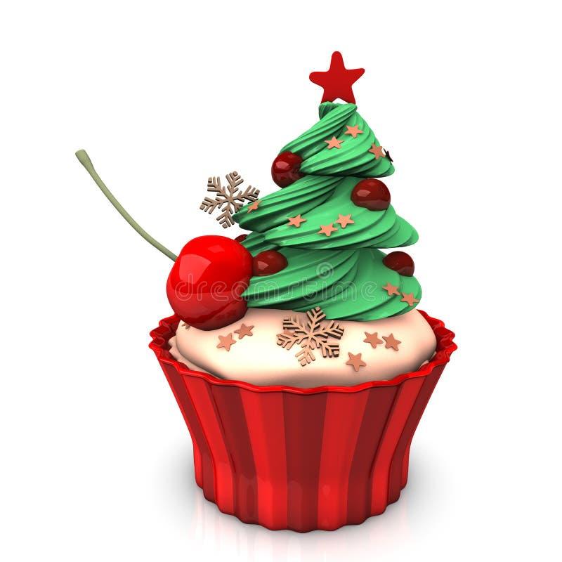 圣诞节杯形蛋糕樱桃 库存例证
