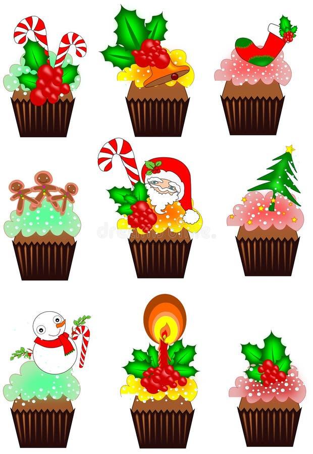 圣诞节杯形蛋糕汇集 向量例证