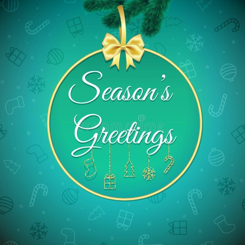 圣诞节构成冷静绿色问候节假日装饰照片存在红色季节 背景上色节假日红色黄色 Xmas与中看不中用的物品的贺卡 海报 库存例证