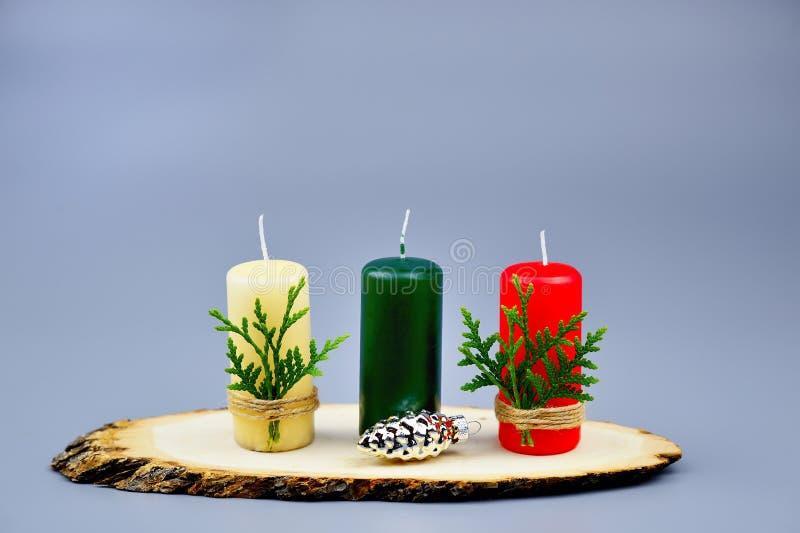 圣诞节构成由蜡烛做成 库存照片
