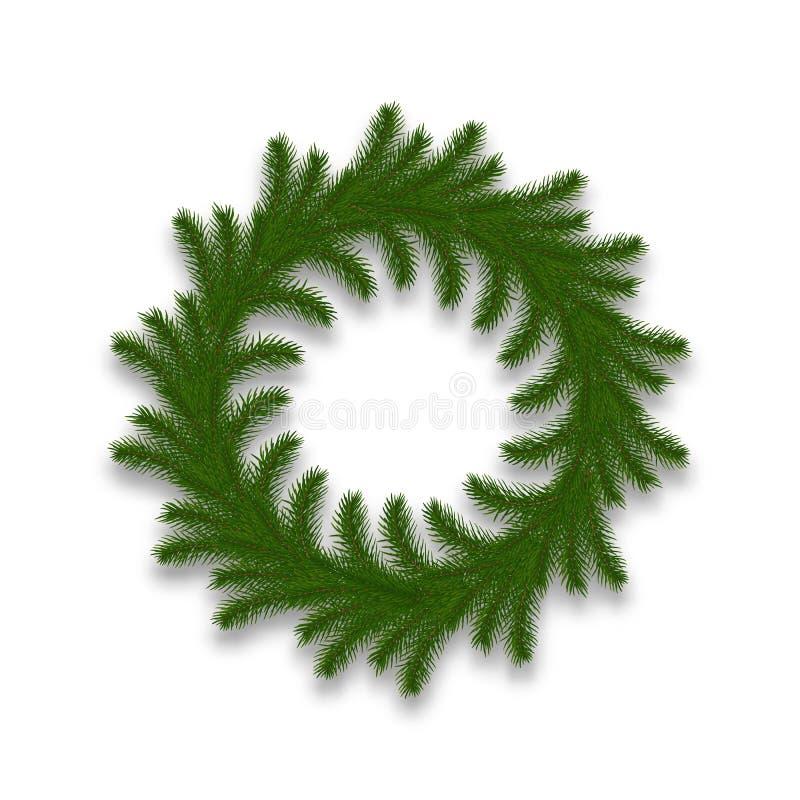 圣诞节查出的花圈 现实圣诞节装饰由杉树制成分支 库存例证