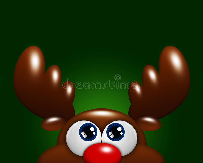 圣诞节查寻在绿色背景的动画片驯鹿 皇族释放例证